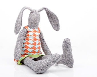 Easter Bunny , Cuddling stuffed doll , handmade gift doll , gray knitted silk rabbit doll , retro pendleton houndstooth orange mint dress