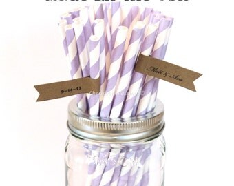 Purple Paper Straws, 25 Lavender Paper Straws,  Made in USA, Lilac Vintage Wedding, Rustic Wedding Retro Baby Shower Princess Party Supplies