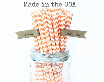 Orange Paper Straws, 50 Orange Chevron Straws, Made in USA, Rustic Wedding, Vintage Baby Shower, Birthday, Bridal Shower, Paper Goods, Table