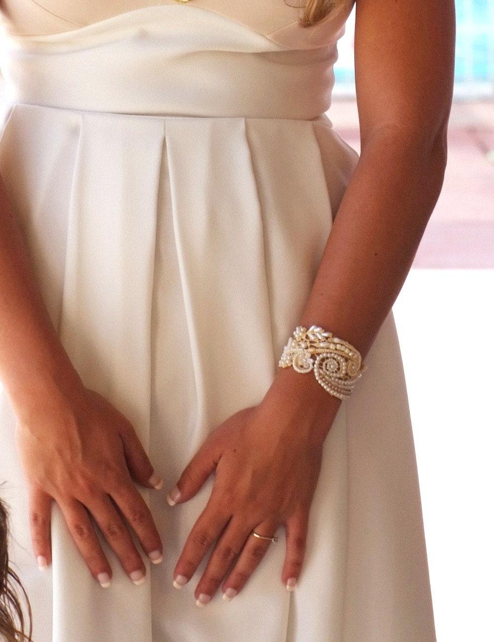 bridal statement braceletbridal pearl bracelet wedding