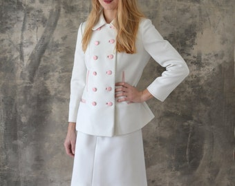 1960s White Lilli Ann Knits Three Piece Suit Size Medium