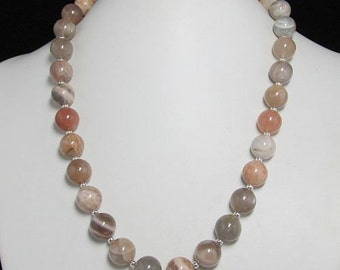 Necklace 19 inch IN Natural Moonstone 12mm and 925 Silver