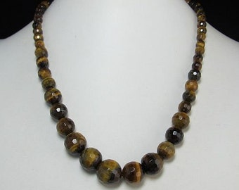 Tiger eye faceted and 925 Silver 17 inch Gradiented Necklace