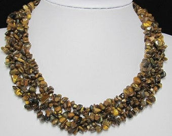 Necklace 17 inch IN Tiger eye chips Gemstone Beads