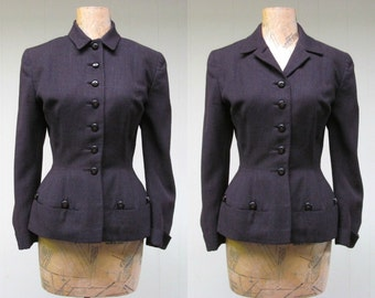 Vintage 1940s Jacket / 40s Brown Wool Girl Friday Fitted Jacket / Small