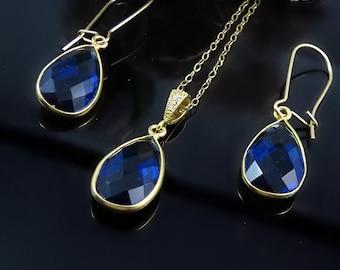 Sapphire Necklace, Sapphire Earrings, Birthstone Necklace, Birthstone Earrings, Jewelry Set, Mothers jewelry, September Birthstone Jewelry,