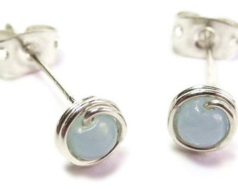 Angelite & Sterling Silver Wire-Wrapped Stud Post Earrings