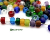 Glass Pony Beads, 9mm Assorted Transparent Color Rainbow Glass Crow Rollers,  50pc