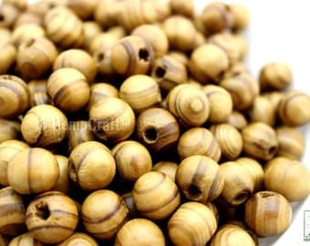 Natural Wood Beads, 12mm Burly Wood Beads, Hemp Jewelry Beads, 50pc