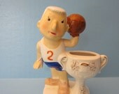 Kitschy Basketball Guy - 1962 Amico Import Ceramic Figurine Made in Japan - Funny Sports Gift