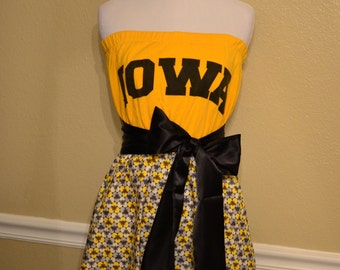 Iowa Hawkeyes College Gameday Yellow Black White Grey T-Shirt Strapless Tube Dress with Black Sash Bow - Medium 6