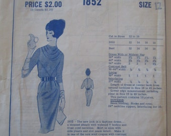 Modes Royale 1852 Women's 60s Blouse Sheath Dress with Cowl Neckline Sewing Pattern Bust 32