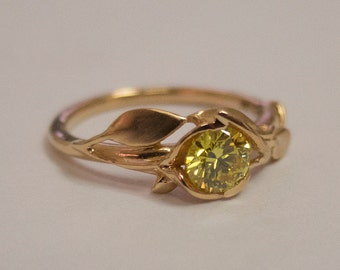Leaves Engagement Ring No. 6 - 14K Rose Gold and Yellow Diamond engagement ring, leaf ring, Fancy Diamond Ring, Yellow Diamond