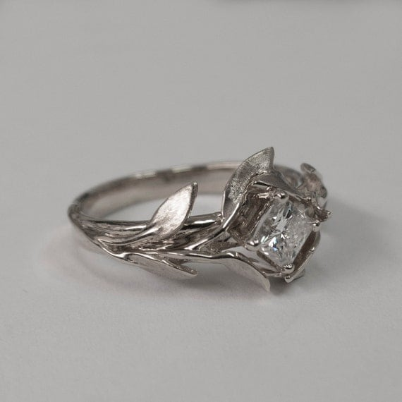 leaves engagement ring no 4 14k white gold and