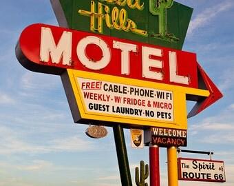 Desert Hills Motel - Mid Century Modern Decor - Old Neon Sign - Retro Home Decor - Route 66 - Motel Sign - Fine Art Photography