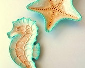 Decorative Ceramic Sea Star Starfish Bowl and Sea Horse Dish Set Beach Cottage Home Decor