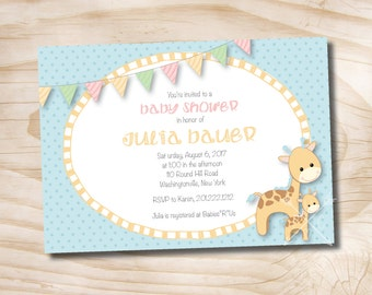 Printable Invitation Giraffe Baby Shower Invitation Digital Design - Printable Digital file or Printed Invitations