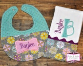 Personalized BABY GIFT Set - Baby GIRL - Burp Cloth and Bib - Teal, Gray and Purple