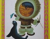 Herve Morvan vintage fifties children book about Nouk the little eskimo - famous French illustrator