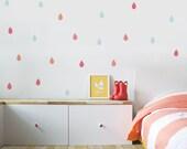Raindrops Wall Decal Rain Wall Decal Kids Wall Decal Kids Décor Girls Decor Aqua Orange Pink Kids Room Decor. Colorful Raindrops Wall Decal