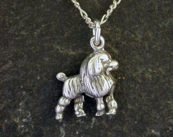 Sterling Silver Poodle Dog Pendant on a Sterling Silver Chain.