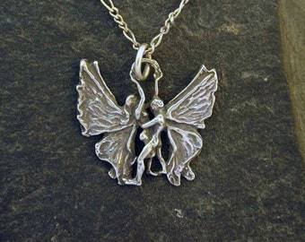 Sterling Silver Dancing Fairies Pendant on a Sterling Silver Chain