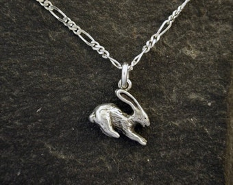 Sterling Silver Rabbit Bunny Pendant on a Sterling Silver Chain