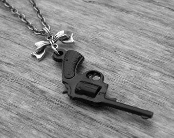Black Western Pistol Gun and Silver Bow Necklace Gun Jewelry Punk Rock and Roll Rocker Rock n Roll Heavy Metal Southern Country Girl Cowgirl