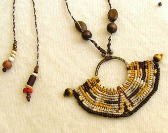Macrame necklace OOAK native american style, beaded with Tiger's eye beads and natural seeds