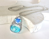 Soda Tab Pendant Necklace - cobalt blue, turquoise, silver - for teens - soda pop tabs - upcycled/eco-friendly jewelry - under 20