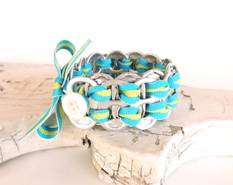 SODA TAB BRACELET - pop tab bracelet with ribbon - turquoise and chartreuse - for kids & teens -  recycled/eco-friendly - under 15.00