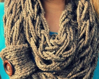 All Wrapped Up Chunky Arm Knit Cowl Infinity Scarf  Wool Blend Made to Order Barley Brown