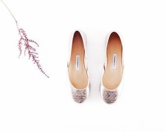 Handmade Leather Ballet Flats | Silver Floral Lace | Ballet Flats | Bridesmaids Flats | Silver Lace | Ready to ship