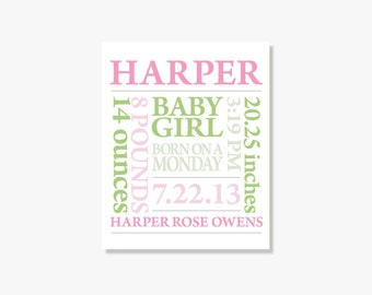 Nursery Art Personalized Baby Gift, Personalized Nursery Decor, Custom Birth Print, New Baby Gift, Birth Gift