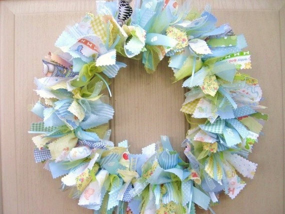 Newborn Baby Boy Fabric Wreath Nursery Decor New Baby Boy