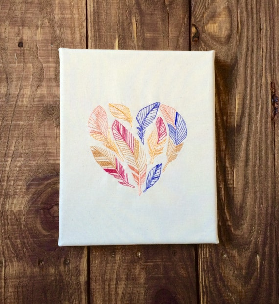 Embroidered Canvas Wall Art Feather Heart By BeCraftHappy On Etsy