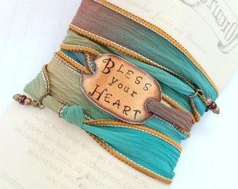 Bless your heart. Boho Silk Wrap Bracelet- southern wrap bracelet- wrap bracelet- boho jewelry