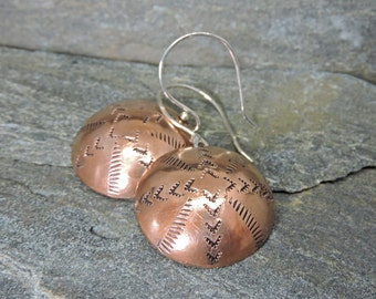 SALE - Southwestern Copper Earrings, Indian Blanket Pattern, Sterling Silver Ear Wires, Totally Handmade, Southwest Style, Bohemian, Round