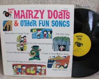 "Vintage ""Mairzy Doats and Other Fun Songs"" Children's Vinyl Record Album - Happy Time Records"