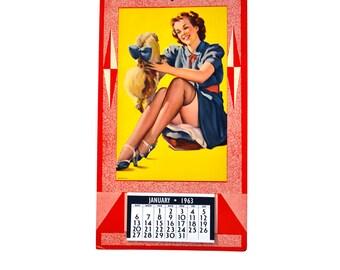 1963 Pin Up Calendar Litho USA Girl and Dog
