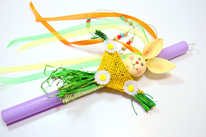 Bunny Lampada .Greek Easter Candle . by FourSeasonsCreations