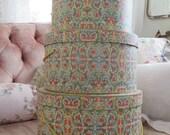 3 Pc Set Vintage Hat Box Stacking Nesting Boxes Colorful Ornate Gold Filigree florentine Eaton's Antiqua
