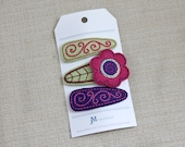 Magenta Pink Daisy on a moss green leaf flower and purple accents 100% Wool Felt Snap clips