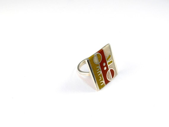Sterling Silver Ring, Geometric, OOAK, Modern, Contemporary, Mid Century