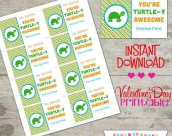 Valentine Turtle - Printable Valentine's Day Cards - INSTANT DOWNLOAD