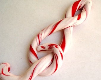Music Christmas Ornament -  Candy Cane Ornament -  Treble Clef Ornament -  Polymer Clay Christmas Ornament - Christmas Decoration