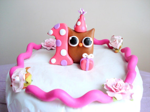 Girls First Birthday Owl Birthday Cake Topper Pink 1st