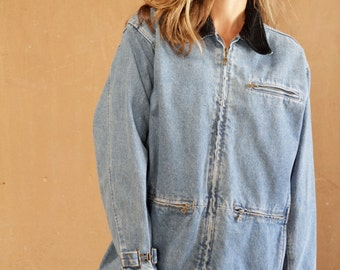 90s denim JEAN JACKET women's field jacket coat