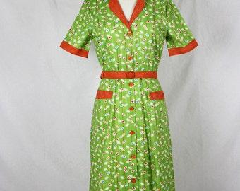 Green and Orange colour sparkling Dress Medium