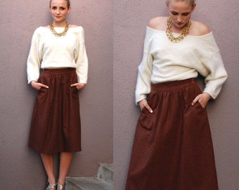 Vintage M Full Below the Knee Midi Skirt Chocolate Brown Wool
